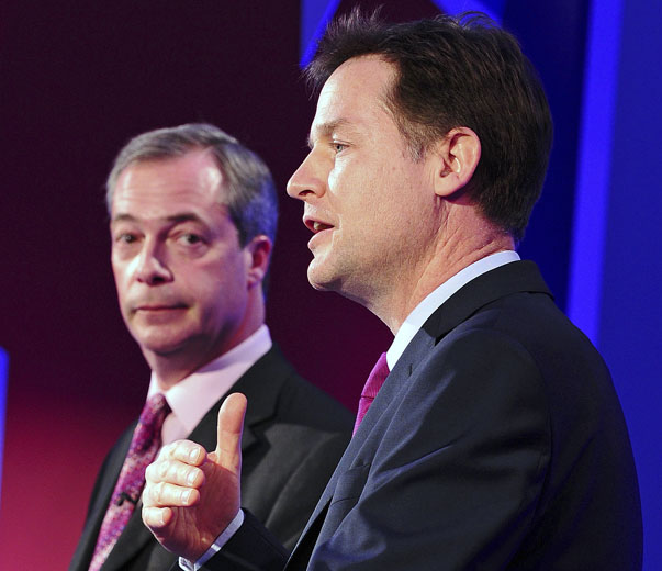 UKIP leader Nigel Farage and Nick Clegg, leader of Britain's Liberal Democrat party speak during a debate on Britain's future in the European Union, in London