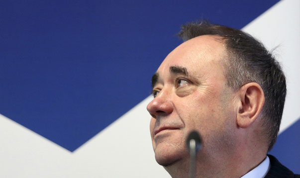 Scotland's First Minister Alex Salmond waits to deliver a speech at the College of Europe in Bruges