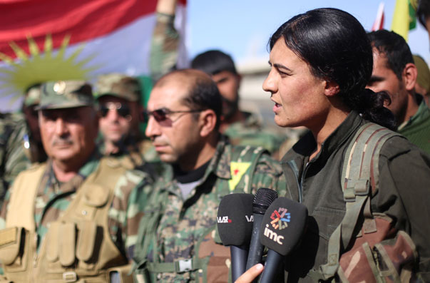 YPG, YPJ and peshmerga commanders speak to the media in Kobani