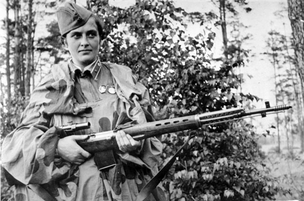 Lyudmila pavlichenko, famous 26 year old russian guerrilla sniper who has killed 309 germans, for which she was made a senior lieutenant and given the order of lenin, a former historian, she participated in the defense of odessa and of sevastopol whe