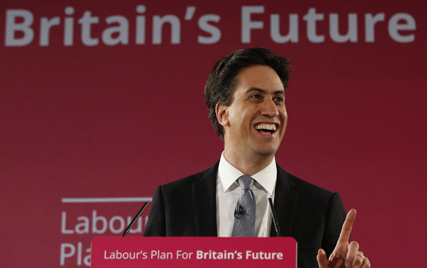 Britain's opposition Labour Party leader Ed Miliband smiles as launches his party's 2015 election campaign in Salford