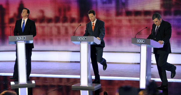 Britain's opposition Conservative Party leader Cameron, Liberal Democrat leader Clegg and PM Brown take part in the third and final televised party leaders' election campaign debate in Birmingham