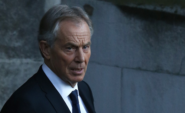 Former Prime Minister Blair leaves the Houses of Parliament in London