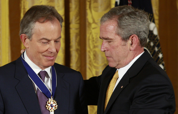 Former British PM Blair receives Presidential Medal of Freedom from U.S. President Bush at the White House in Washington