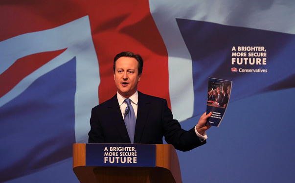 Britain's  Prime Minister David Cameron presents the Conservative party election manifesto in Swindon