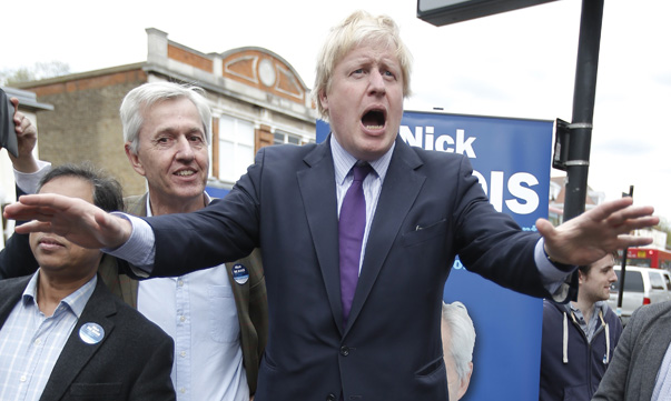 "London Mayor Boris Johnson stands on a ""soap box"" as he campaigns for the Conservative Party in Enfield in London"