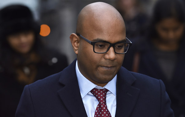 Dhanuson Dharmasena arrives at Southwark Crown Court in London