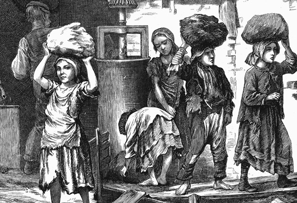 Children carrying loads of clay in the brickyards of the English Midlands, 1871.