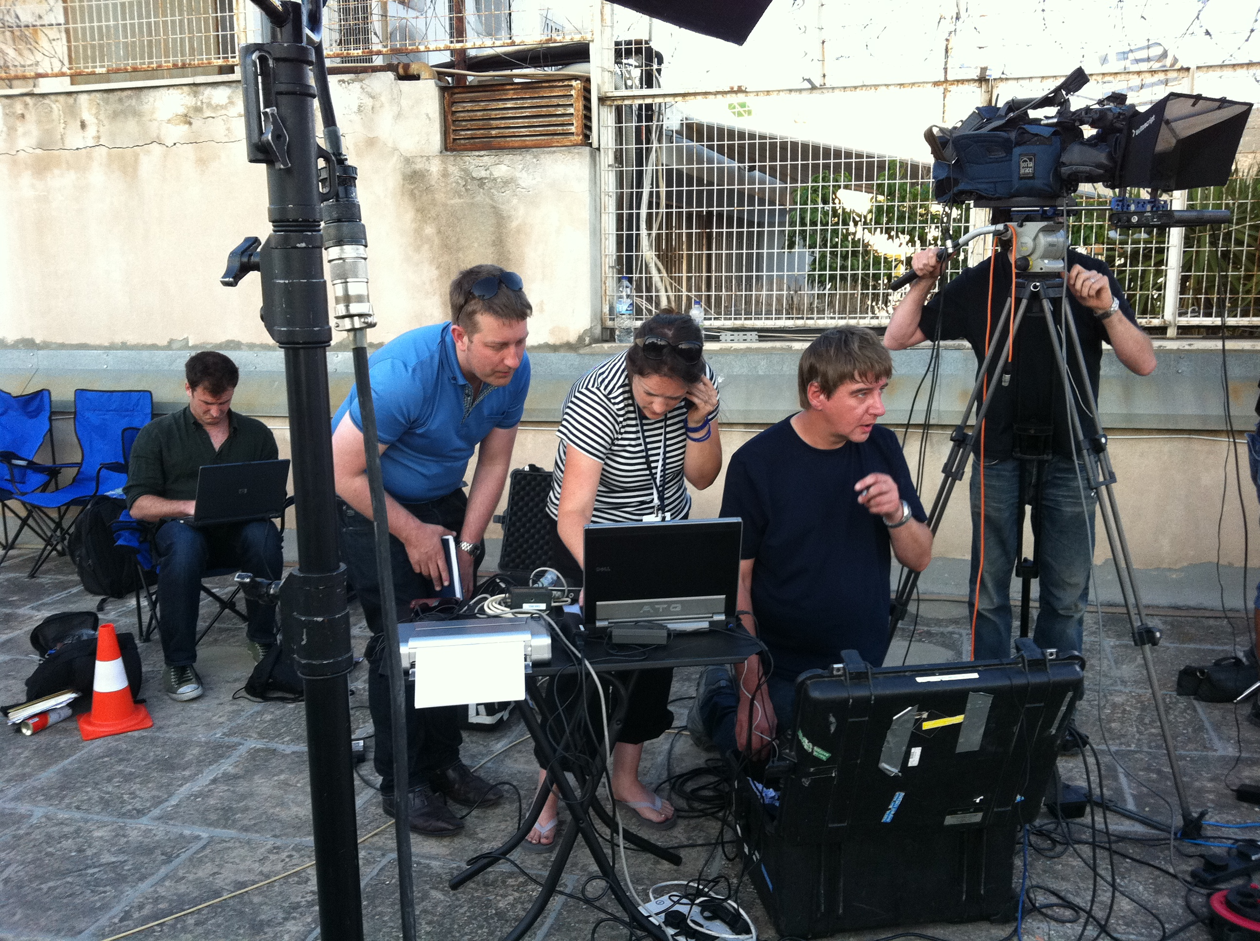 Sarah Corp and Channel 4 News team covering the Greek Elections in 2012