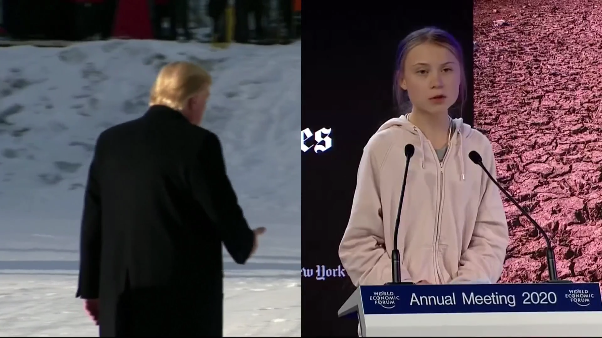 Trump clashes with Greta Thunberg at Davos - channel 4