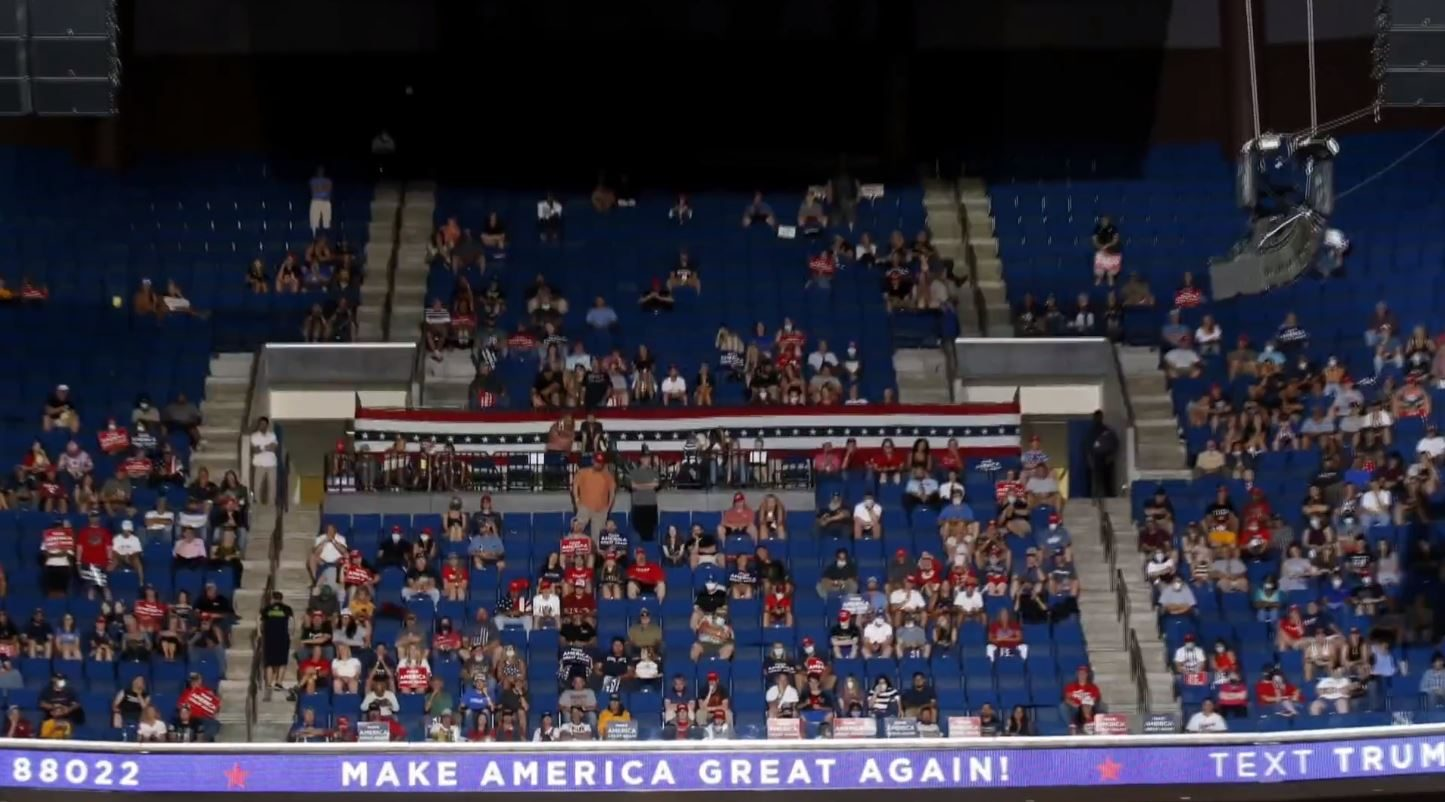 Poor turnout for President Donald Trump's first major rally since US lockdown began – Channel 4 News