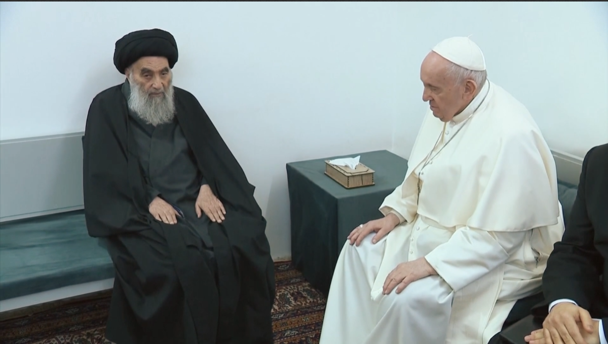 Pope makes powerful plea for peaceful coexistence in historic meeting with top Shi'a cleric - channel 4