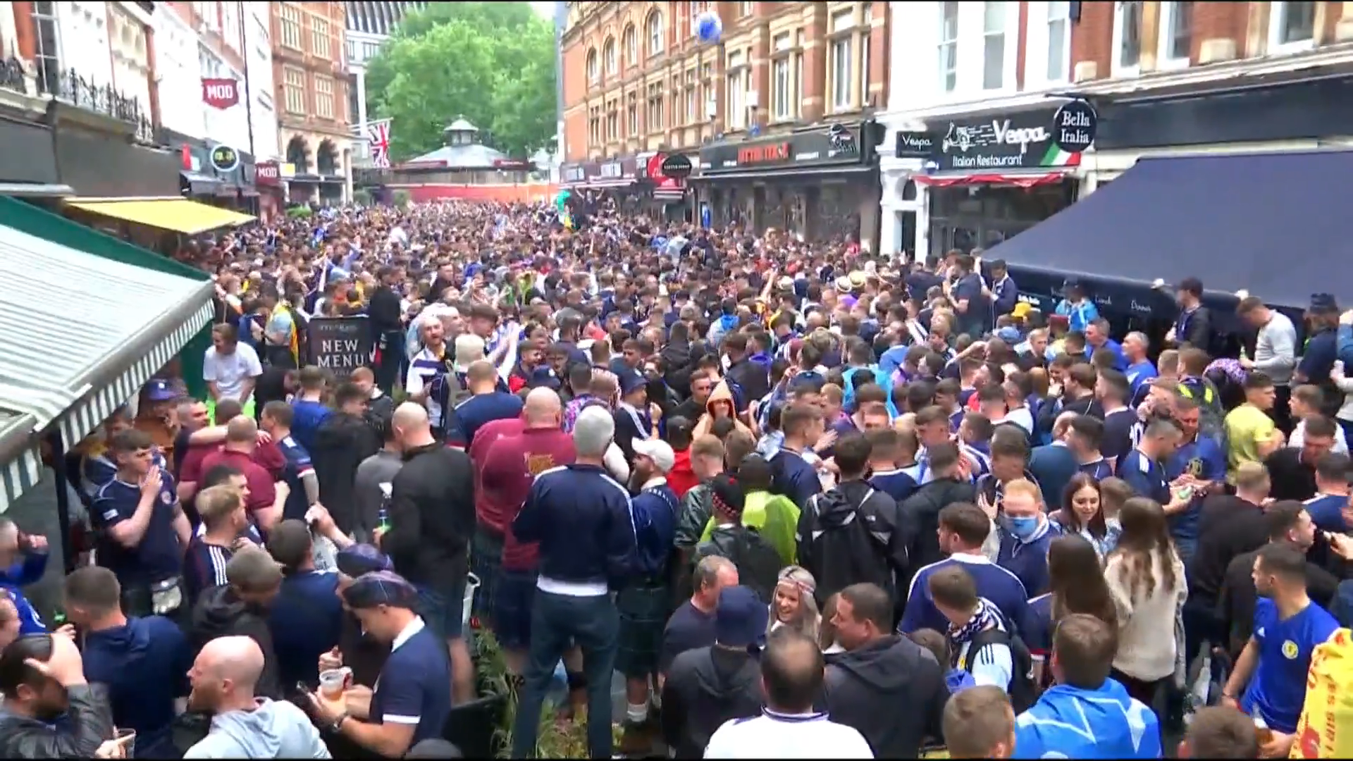 Thousands of fans gather in London ahead of England v Scotland Euro 2020 clash - channel 4